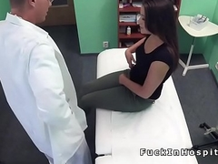 Doctor in uniform bangs cute patient