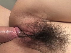Asian battle-axe with a hairy muff getting banged by her cadger