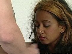Sweet youthful ebony stepdaughter fucked deep in juicy black pussy in interracial