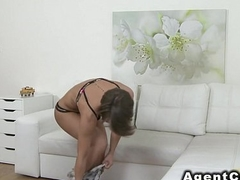 Beautiful figure babe fucks role of agent in casting