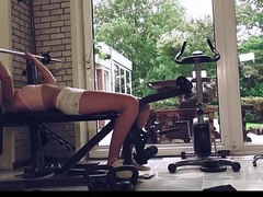 Super sexy babe exercising blowjob fucking old guy at the gym