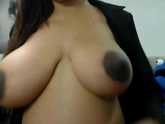 Pregnant latina plays with her huge tits on cam