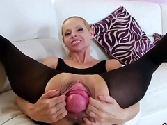 Lesbian idols gape their deep anuses and fuck fat fuck toys
