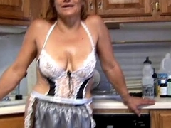 Trashy superannuated spunker in sexy lingerie fucks her juicy pussy be fitting of you