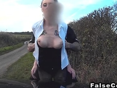 Busty babe sucks dick in fake cops car