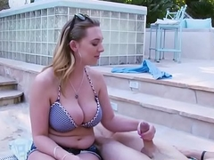 Bigboobed babe banged by the swimming pool