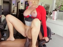 Double comprehensively blonde milf fucks interracial