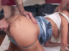 Eurobabe beauties assfucked in threesomes