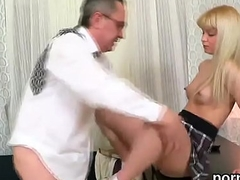 Kissable college girl gets seduced and screwed by her older tutor