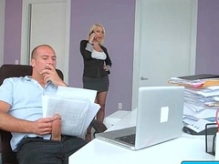 Hot busty secretary nailed at the end of one's tether her boss in the office 24