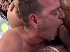 Bisexual black TS in trio with girl with an increment of dude
