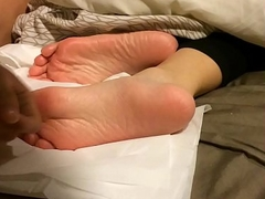 my sleeping sister cum on her soft feet sole candid 1