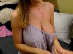 Sexy busty playing with her tits